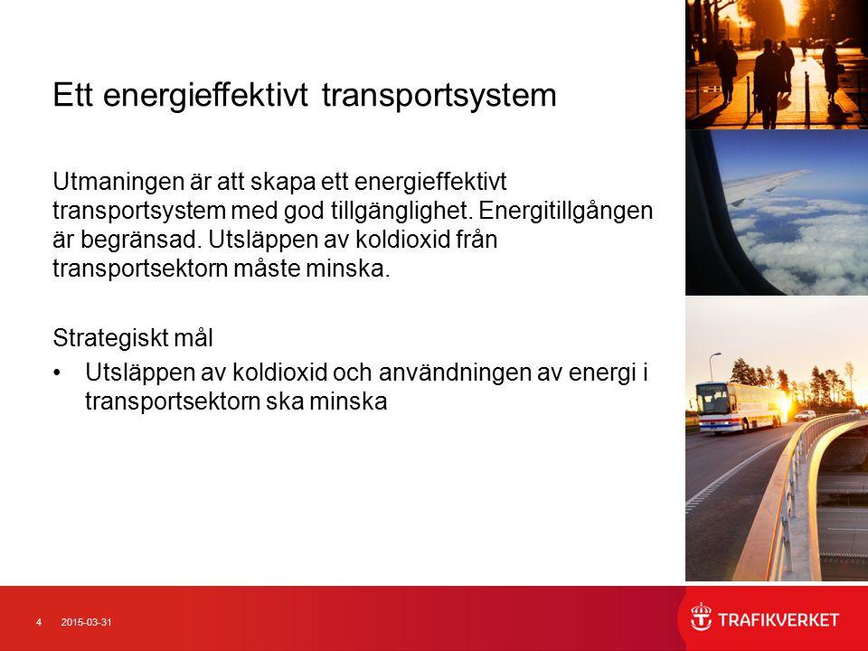 42015-03-31 Ett energieffektivt transportsystem Utmaningen är att skapa ett energieffektivt transportsystem med god tillgänglighet. Energitillgången ä
