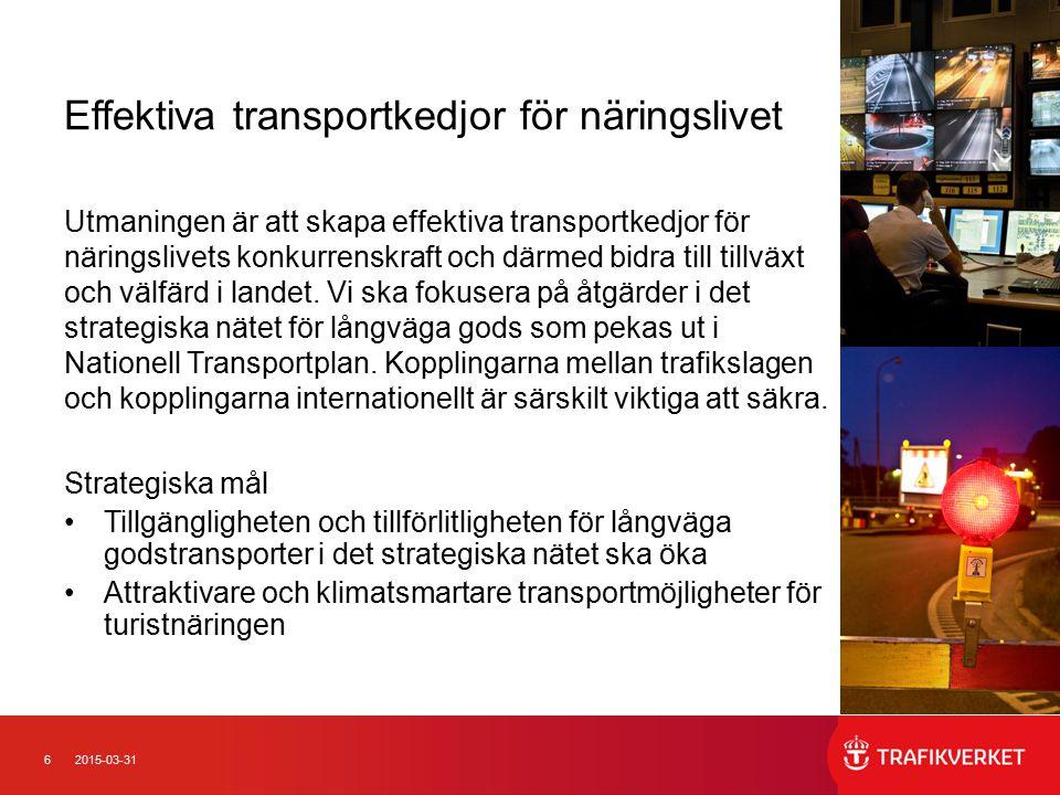 62015-03-31 Effektiva transportkedjor för näringslivet Utmaningen är att skapa effektiva transportkedjor för näringslivets konkurrenskraft och därmed