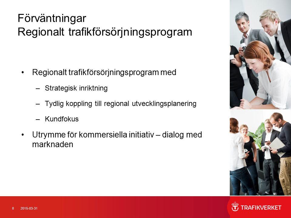 82015-03-31 Förväntningar Regionalt trafikförsörjningsprogram Regionalt trafikförsörjningsprogram med –Strategisk inriktning –Tydlig koppling till regional utvecklingsplanering –Kundfokus Utrymme för kommersiella initiativ – dialog med marknaden