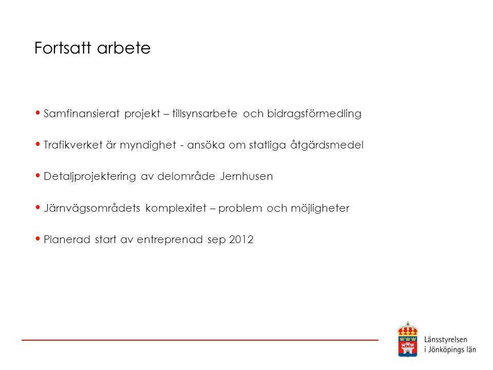 Fortsatt arbete Samfinansierat projekt – tillsynsarbete och bidragsförmedling Trafikverket är myndighet - ansöka om statliga åtgärdsmedel Detaljprojek