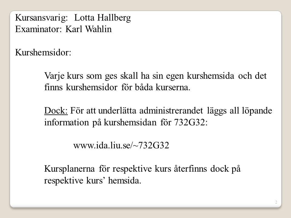 Kursansvarig: Lotta Hallberg Examinator: Karl Wahlin Kurshemsidor: Varje kurs som ges skall ha sin egen kurshemsida och det finns kurshemsidor för båd