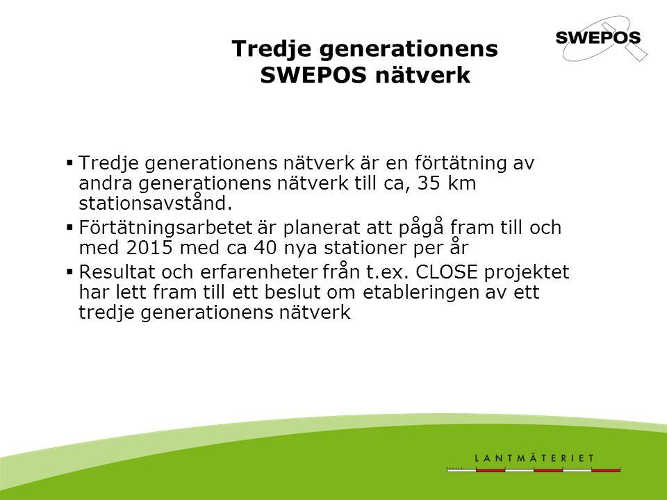 Tredje generationens SWEPOS nätverk  Tredje generationens nätverk är en förtätning av andra generationens nätverk till ca, 35 km stationsavstånd.