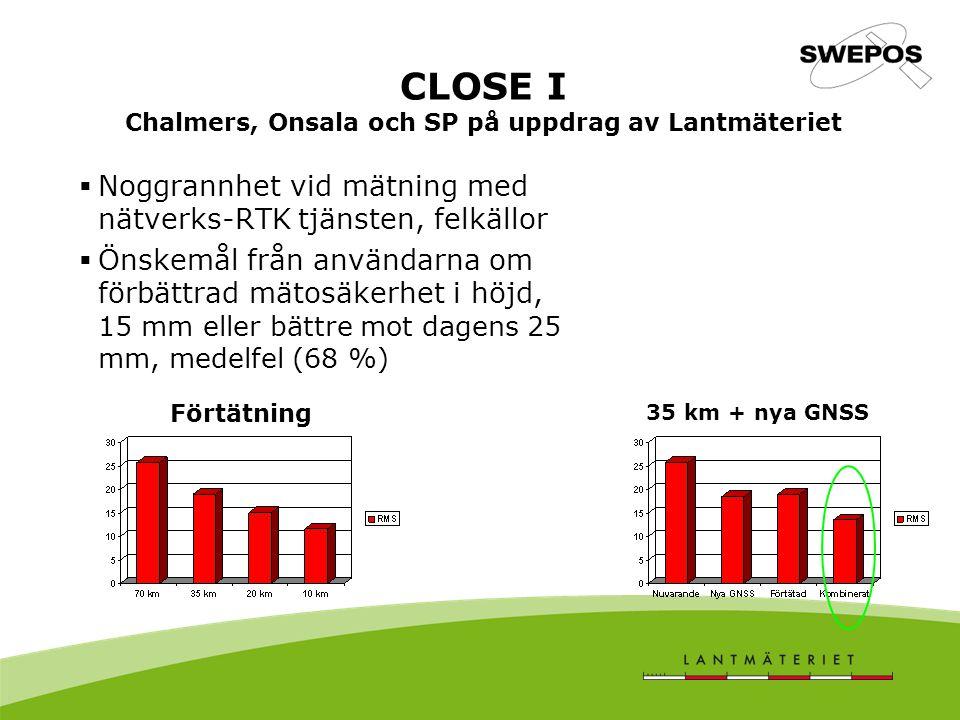 CLOSE I Chalmers, Onsala och SP på uppdrag av Lantmäteriet  Noggrannhet vid mätning med nätverks-RTK tjänsten, felkällor  Önskemål från användarna om förbättrad mätosäkerhet i höjd, 15 mm eller bättre mot dagens 25 mm, medelfel (68 %) Förtätning 35 km + nya GNSS