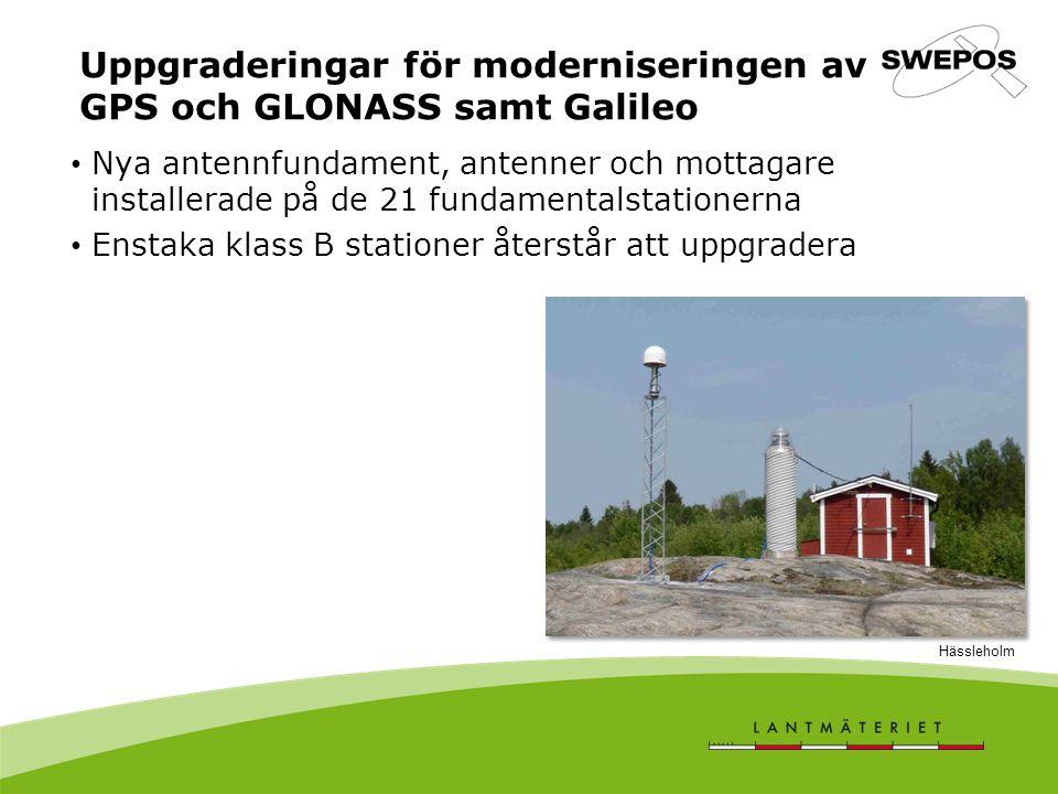 Uppgraderingar för moderniseringen av GPS och GLONASS samt Galileo Nya antennfundament, antenner och mottagare installerade på de 21 fundamentalstationerna Enstaka klass B stationer återstår att uppgradera Hässleholm