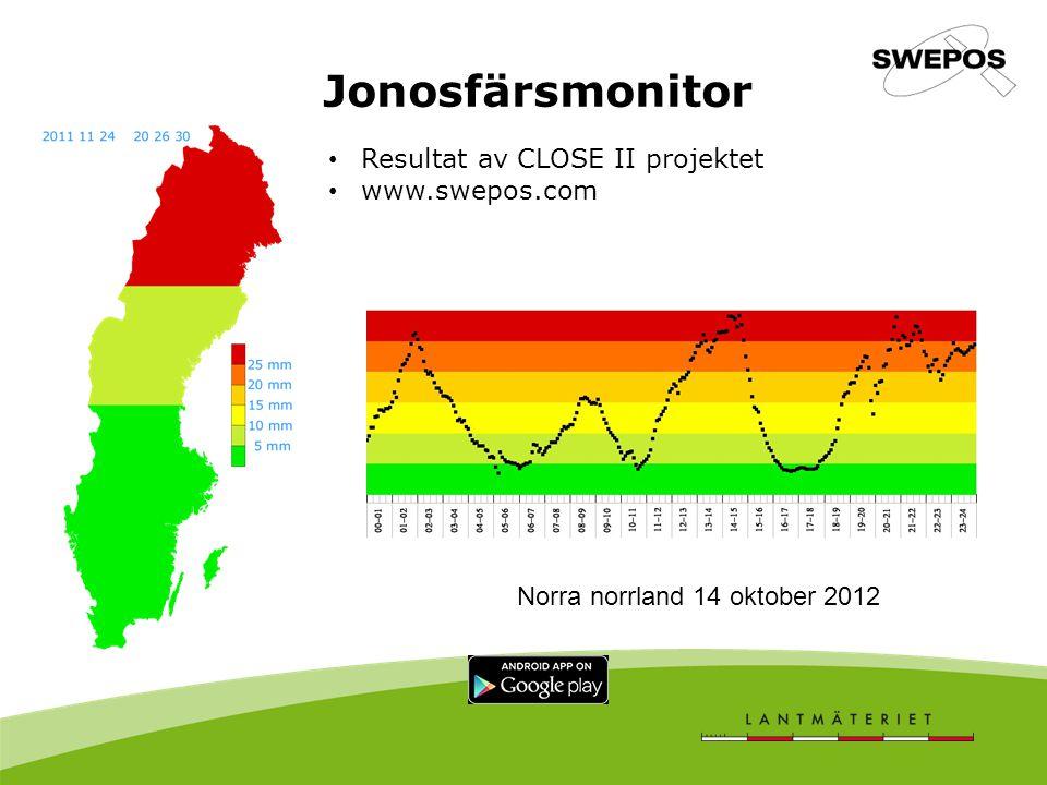 Jonosfärsmonitor Resultat av CLOSE II projektet www.swepos.com Norra norrland 15 oktober 2012 Norra norrland 14 oktober 2012