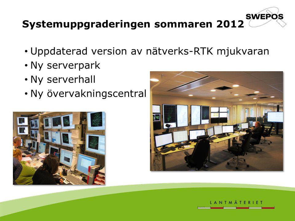 Uppdaterad version av nätverks-RTK mjukvaran Ny serverpark Ny serverhall Ny övervakningscentral Systemuppgraderingen sommaren 2012