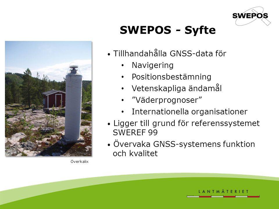 SWEPOS - Syfte Tillhandahålla GNSS-data för Navigering Positionsbestämning Vetenskapliga ändamål Väderprognoser Internationella organisationer Ligger till grund för referenssystemet SWEREF 99 Övervaka GNSS-systemens funktion och kvalitet Överkalix