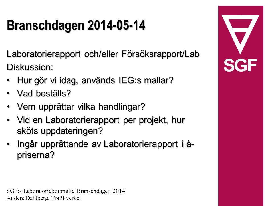 Branschdagen 2014-05-14 Laboratorierapport och/eller Försöksrapport/Lab Diskussion: Hur gör vi idag, används IEG:s mallar Hur gör vi idag, används IEG:s mallar.