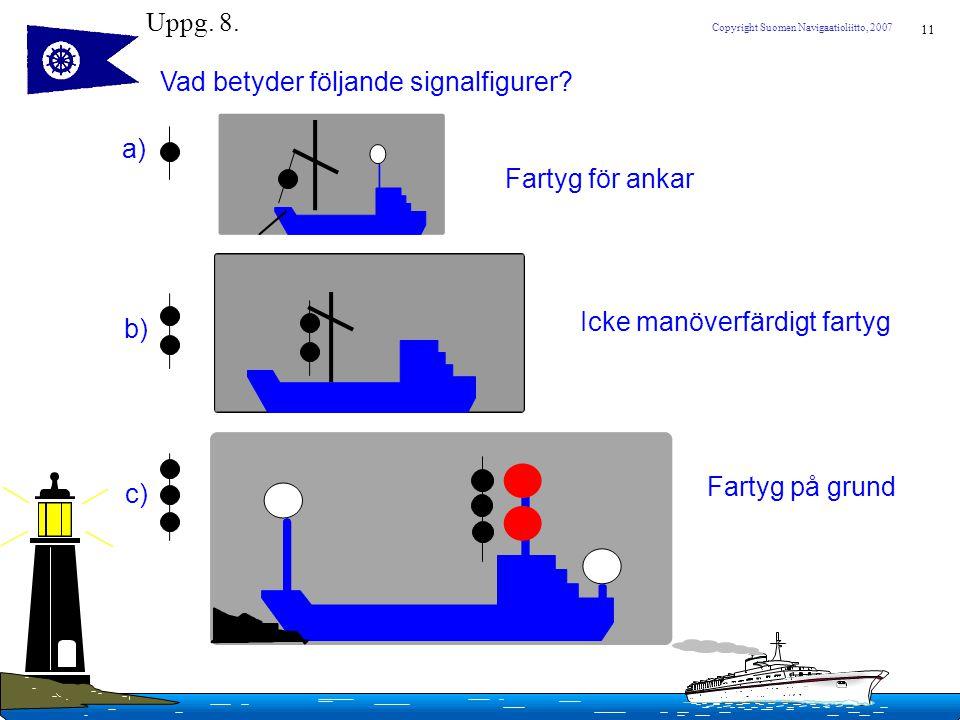 11 Copyright Suomen Navigaatioliitto, 2007 Uppg. 8. Vad betyder följande signalfigurer? a) b) c) Fartyg för ankar Icke manöverfärdigt fartyg Fartyg på