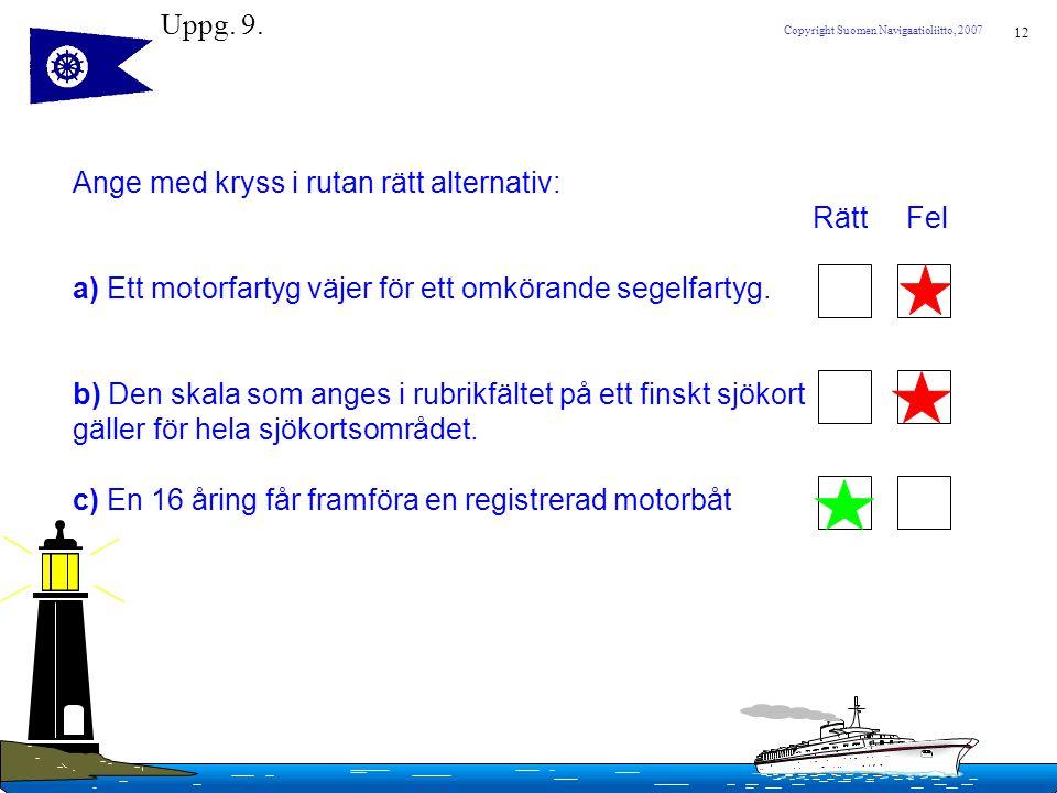 12 Copyright Suomen Navigaatioliitto, 2007 Uppg. 9. Ange med kryss i rutan rätt alternativ: Rätt Fel a) Ett motorfartyg väjer för ett omkörande segelf