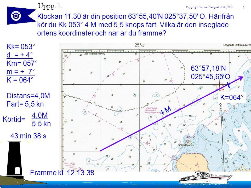 2 Copyright Suomen Navigaatioliitto, 2007 Uppg. 1. Klockan 11.30 är din position 63°55,40'N 025°37,50' O. Härifrån kör du Kk 053° 4 M med 5,5 knops fa