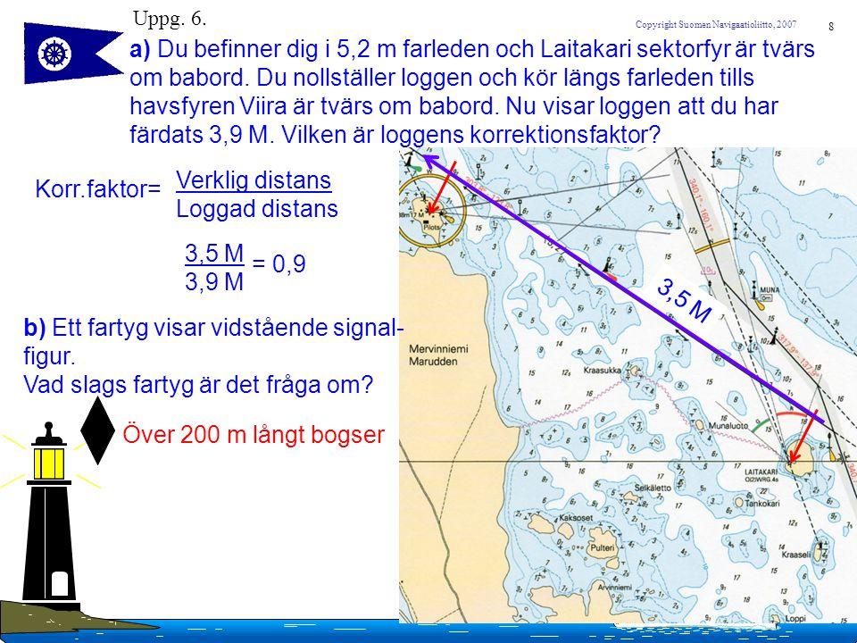 8 Copyright Suomen Navigaatioliitto, 2007 Uppg. 6. a) Du befinner dig i 5,2 m farleden och Laitakari sektorfyr är tvärs om babord. Du nollställer logg