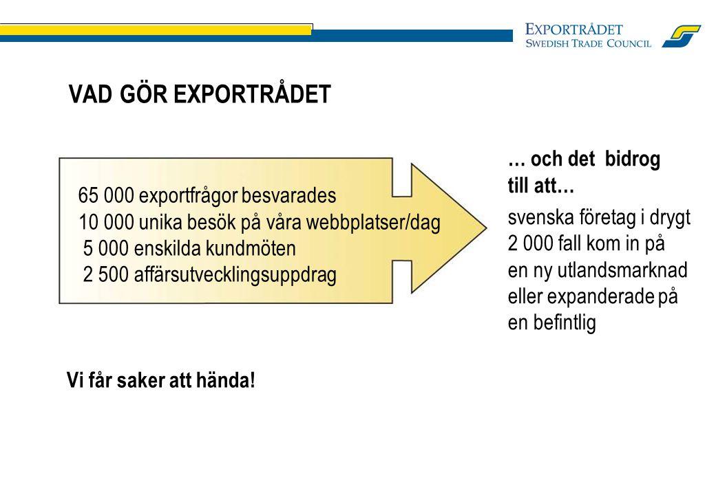 VAD GÖR EXPORTRÅDET … och det bidrog till att… svenska företag i drygt 2 000 fall kom in på en ny utlandsmarknad eller expanderade på en befintlig Vi får saker att hända.
