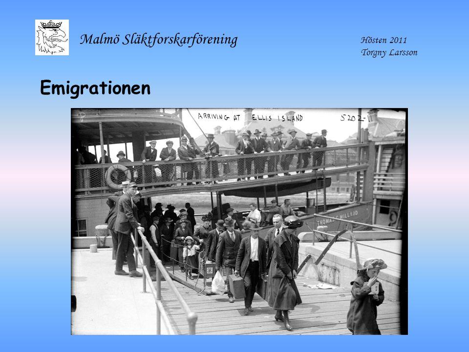 Malmö Släktforskarförening Hösten 2011 Torgny Larsson Emigrationen