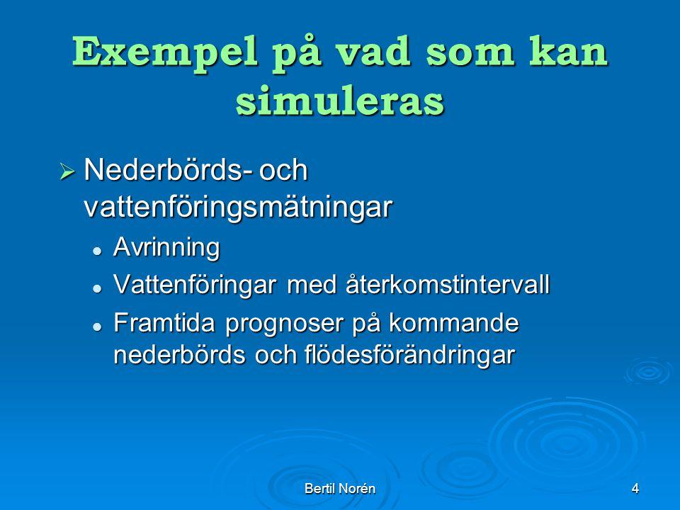Bertil Norén4 Exempel på vad som kan simuleras  Nederbörds- och vattenföringsmätningar Avrinning Avrinning Vattenföringar med återkomstintervall Vattenföringar med återkomstintervall Framtida prognoser på kommande nederbörds och flödesförändringar Framtida prognoser på kommande nederbörds och flödesförändringar