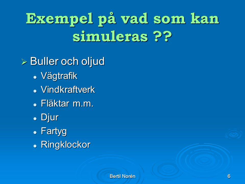 Bertil Norén6 Exempel på vad som kan simuleras ?.