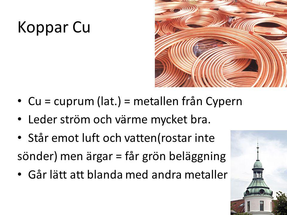 Koppar Cu Cu = cuprum (lat.) = metallen från Cypern Leder ström och värme mycket bra.