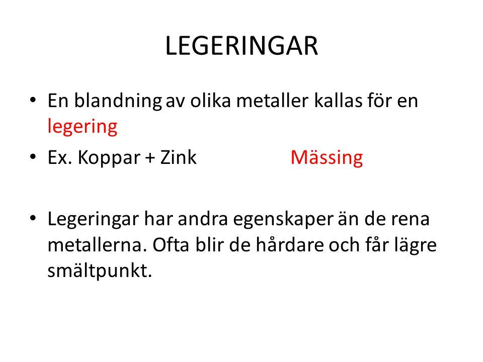 LEGERINGAR En blandning av olika metaller kallas för en legering Ex.
