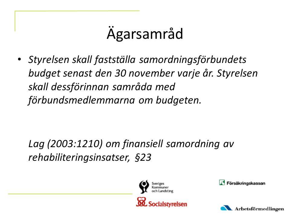 Ägarsamråd Styrelsen skall fastställa samordningsförbundets budget senast den 30 november varje år.