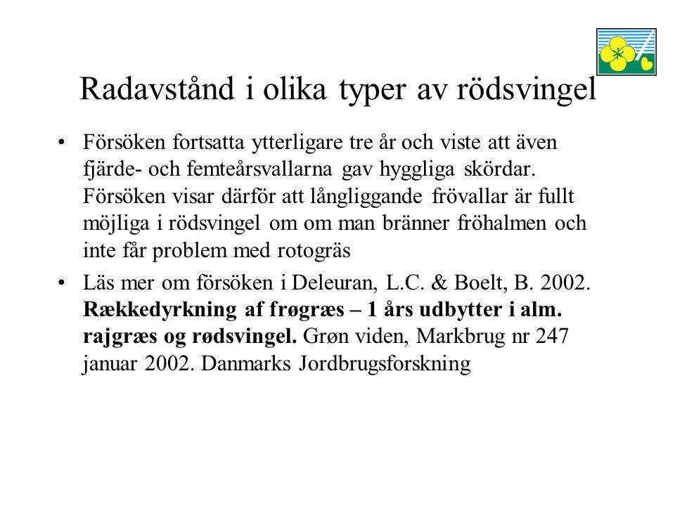Radavstånd i olika typer av rödsvingel Försöken fortsatta ytterligare tre år och viste att även fjärde- och femteårsvallarna gav hyggliga skördar.