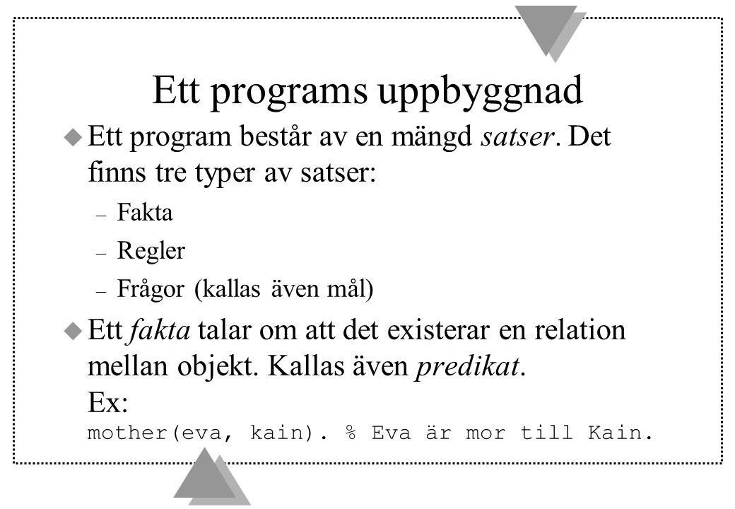 Ett programs uppbyggnad u Ett program består av en mängd satser. Det finns tre typer av satser: – Fakta – Regler – Frågor (kallas även mål)  Ett fakt