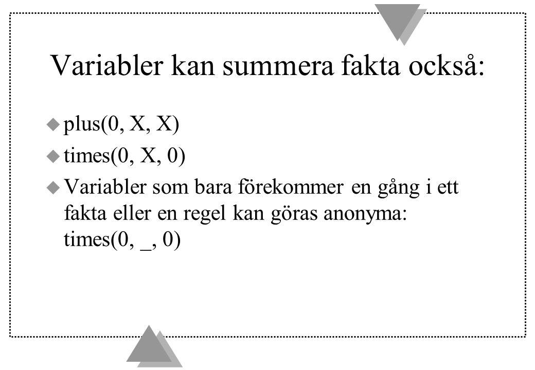 Variabler kan summera fakta också: u plus(0, X, X) u times(0, X, 0) u Variabler som bara förekommer en gång i ett fakta eller en regel kan göras anony