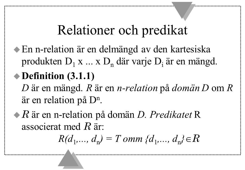 Relationer och predikat u En n-relation är en delmängd av den kartesiska produkten D 1 x... x D n där varje D i är en mängd. u Definition (3.1.1) D är