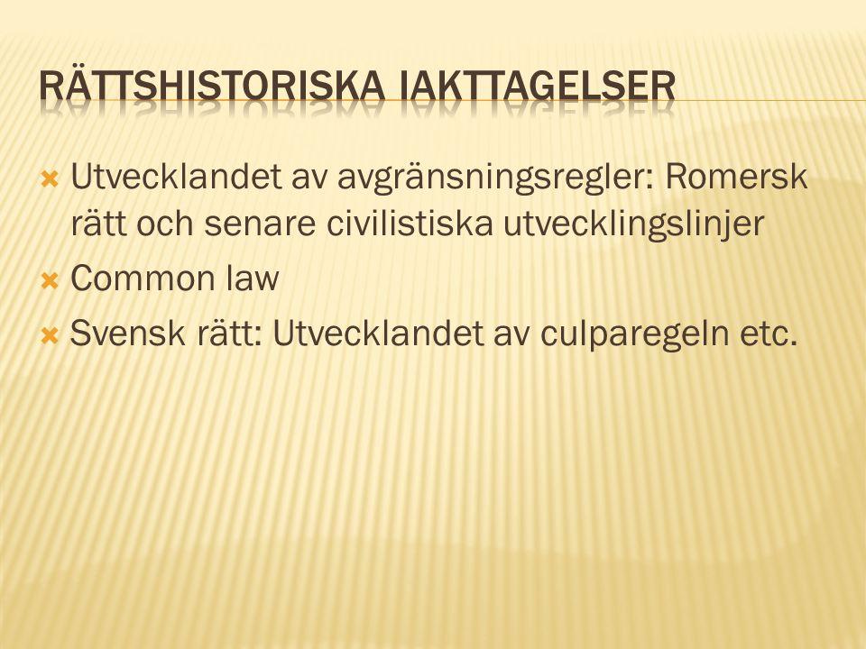  Utvecklandet av avgränsningsregler: Romersk rätt och senare civilistiska utvecklingslinjer  Common law  Svensk rätt: Utvecklandet av culparegeln e
