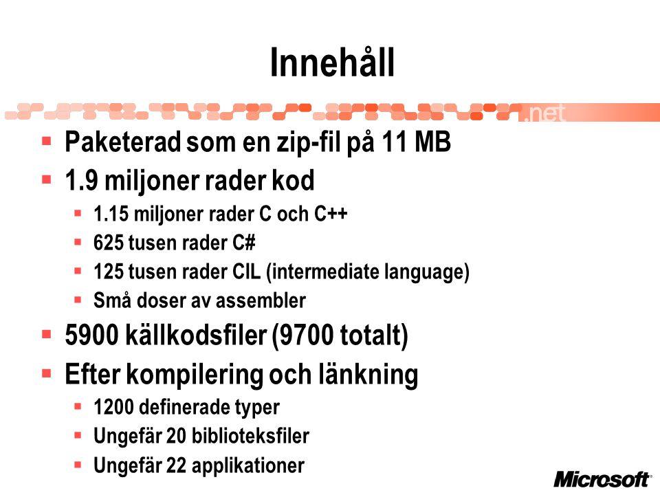 Innehåll  Paketerad som en zip-fil på 11 MB  1.9 miljoner rader kod  1.15 miljoner rader C och C++  625 tusen rader C#  125 tusen rader CIL (intermediate language)  Små doser av assembler  5900 källkodsfiler (9700 totalt)  Efter kompilering och länkning  1200 definerade typer  Ungefär 20 biblioteksfiler  Ungefär 22 applikationer