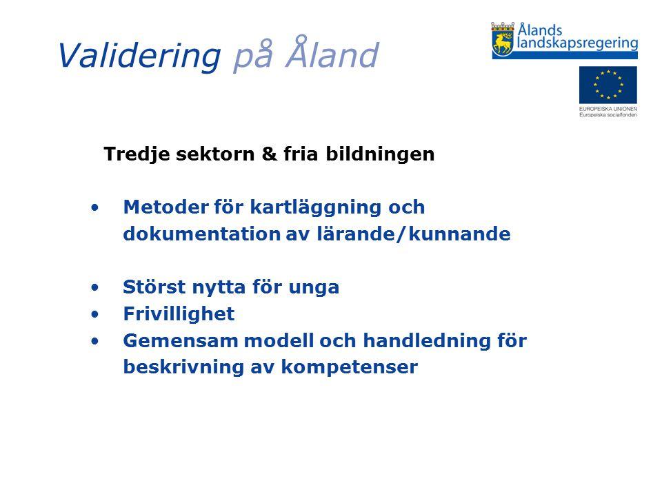 Validering på Åland Tredje sektorn & fria bildningen Metoder för kartläggning och dokumentation av lärande/kunnande Störst nytta för unga Frivillighet