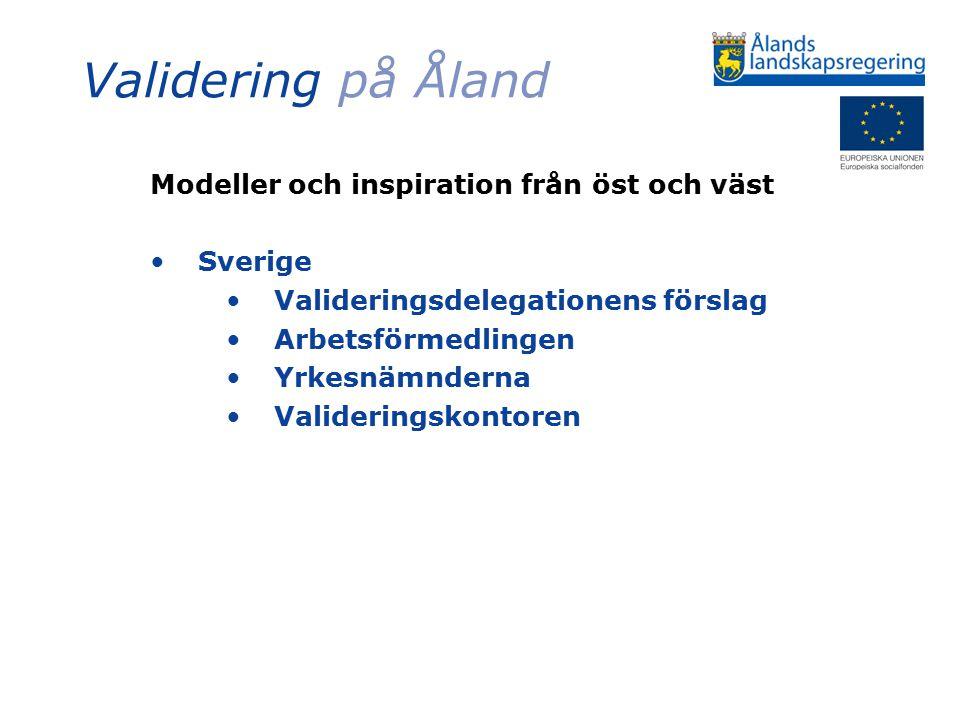 Validering på Åland Modeller och inspiration från öst och väst Sverige Valideringsdelegationens förslag Arbetsförmedlingen Yrkesnämnderna Valideringskontoren