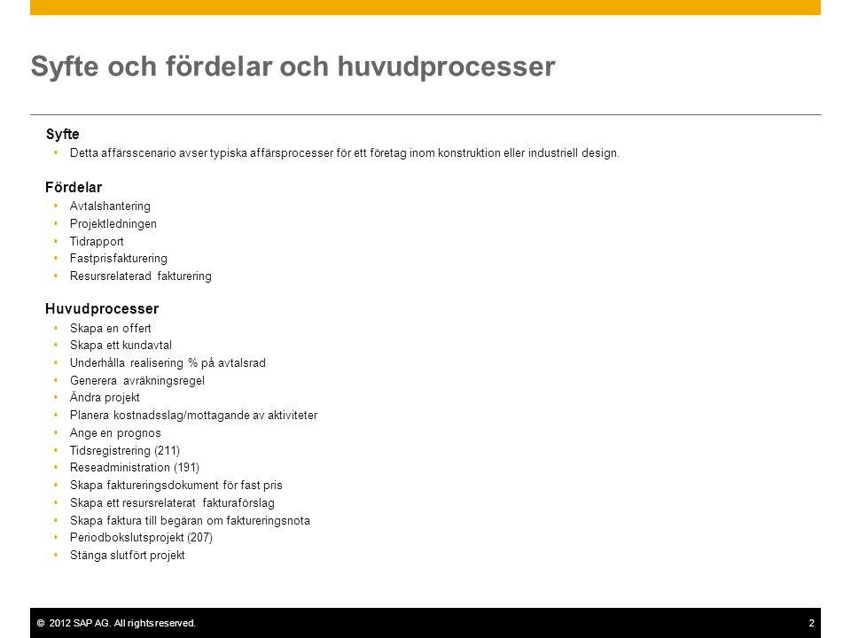 ©2012 SAP AG. All rights reserved.2 Syfte och fördelar och huvudprocesser Syfte  Detta affärsscenario avser typiska affärsprocesser för ett företag i