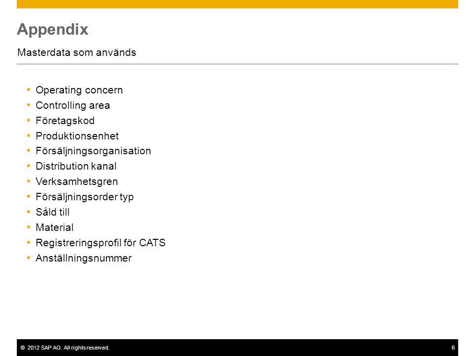 ©2012 SAP AG. All rights reserved.6 Appendix Masterdata som används  Operating concern  Controlling area  Företagskod  Produktionsenhet  Försäljn