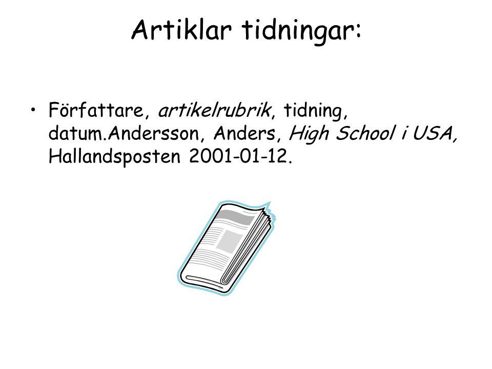Artiklar tidningar: Författare, artikelrubrik, tidning, datum.Andersson, Anders, High School i USA, Hallandsposten 2001-01-12.