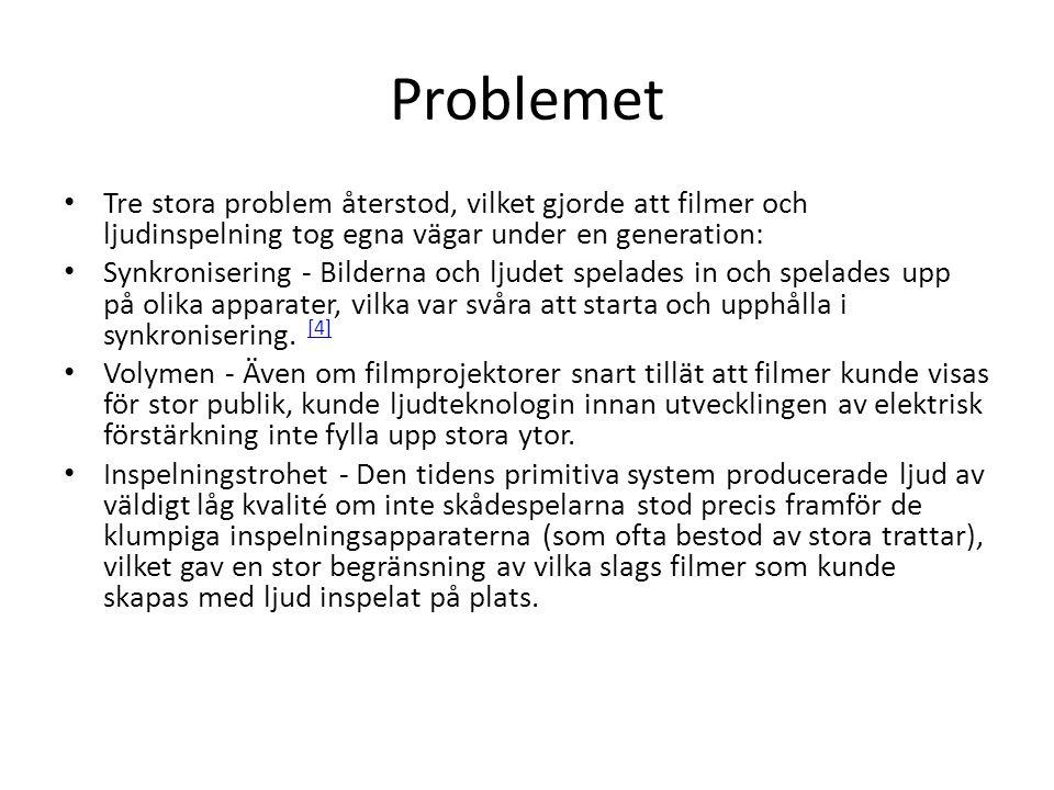 Problemet Tre stora problem återstod, vilket gjorde att filmer och ljudinspelning tog egna vägar under en generation: Synkronisering - Bilderna och lj