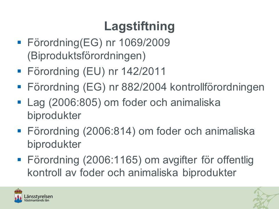 Lagstiftning  Förordning(EG) nr 1069/2009 (Biproduktsförordningen)  Förordning (EU) nr 142/2011  Förordning (EG) nr 882/2004 kontrollförordningen 