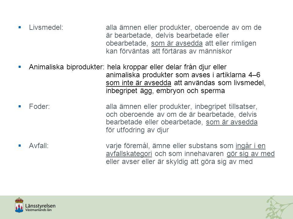 Kommunerna Är behöriga myndigheter att utöva offentlig kontroll över:  Nedgrävning av animaliska biprodukter  Hästar  Frilevande vilt i hägn  Utlämnande och transport av matavfall  Från internationell trafik (hushållsavfall och enbart vegetabilier omhändertas enligt miljöbalken)  Kompostering av matavfall när sådan kompostering genomförs på annat sätt än genom kompostering i en av jordbruksverket godkänd komposteringsanläggning