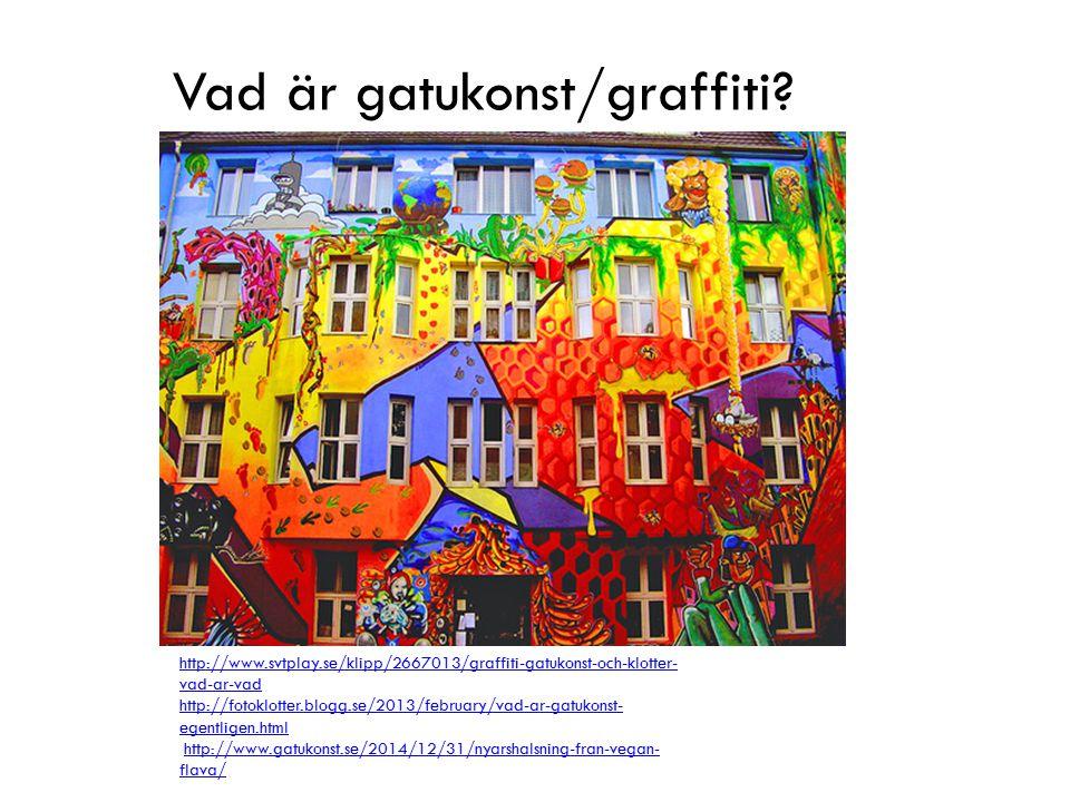Vad är gatukonst/graffiti? http://www.svtplay.se/klipp/2667013/graffiti-gatukonst-och-klotter- vad-ar-vad http://fotoklotter.blogg.se/2013/february/va