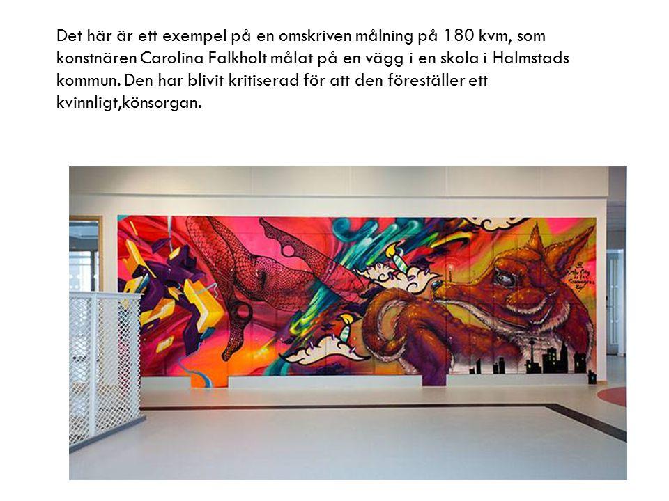 Det här är ett exempel på en omskriven målning på 180 kvm, som konstnären Carolina Falkholt målat på en vägg i en skola i Halmstads kommun. Den har bl
