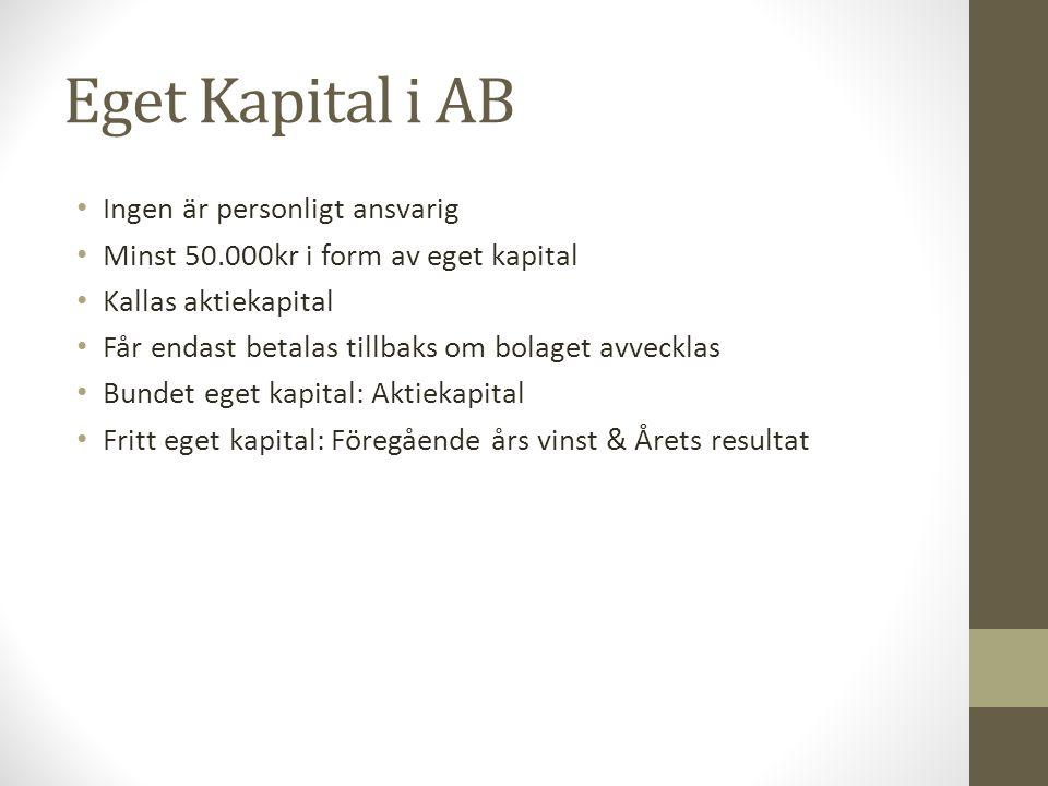 Eget Kapital i AB Ingen är personligt ansvarig Minst 50.000kr i form av eget kapital Kallas aktiekapital Får endast betalas tillbaks om bolaget avveck