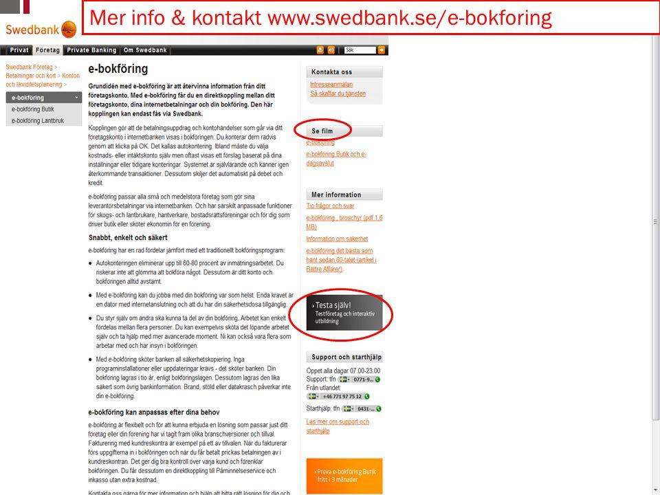 © Copyright SpeedLedger 2009 17 Mer info & kontakt www.swedbank.se/e-bokforing