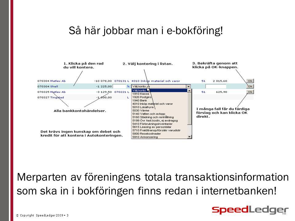 © Copyright SpeedLedger 2009 3 Så här jobbar man i e-bokföring.