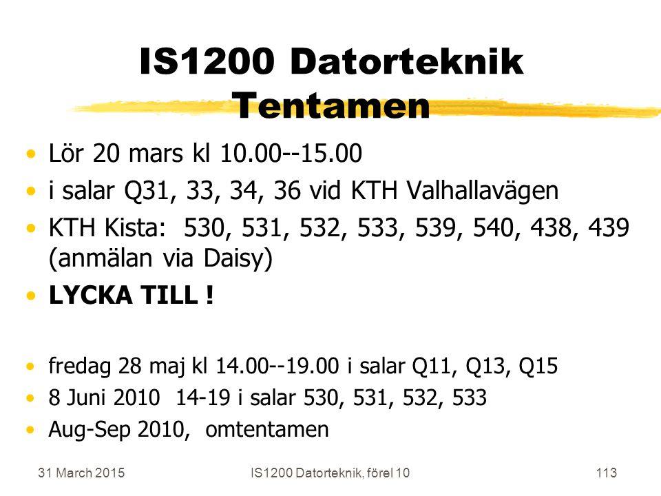 31 March 2015IS1200 Datorteknik, förel 10113 IS1200 Datorteknik Tentamen Lör 20 mars kl 10.00--15.00 i salar Q31, 33, 34, 36 vid KTH Valhallavägen KTH Kista: 530, 531, 532, 533, 539, 540, 438, 439 (anmälan via Daisy) LYCKA TILL .