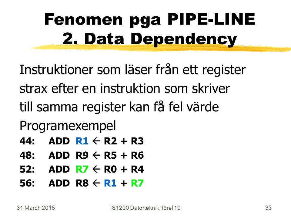 31 March 2015IS1200 Datorteknik, förel 1033 Fenomen pga PIPE-LINE 2.