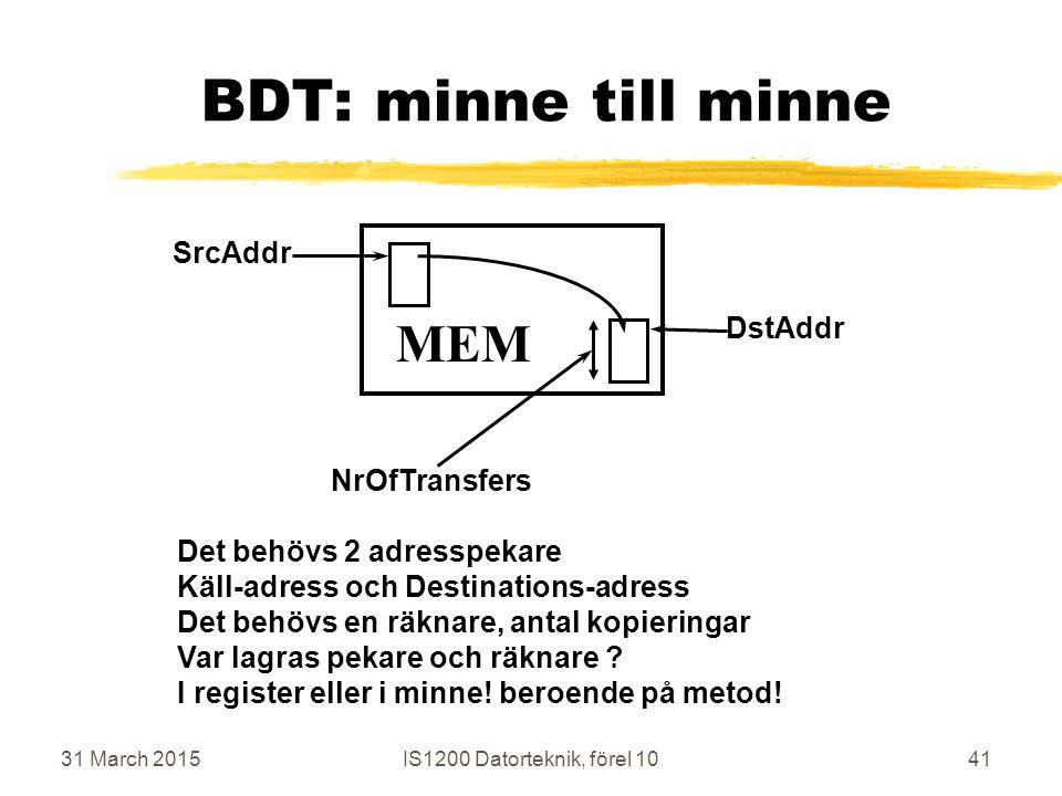 31 March 2015IS1200 Datorteknik, förel 1041 BDT: minne till minne MEM SrcAddr NrOfTransfers DstAddr Det behövs 2 adresspekare Käll-adress och Destinations-adress Det behövs en räknare, antal kopieringar Var lagras pekare och räknare .