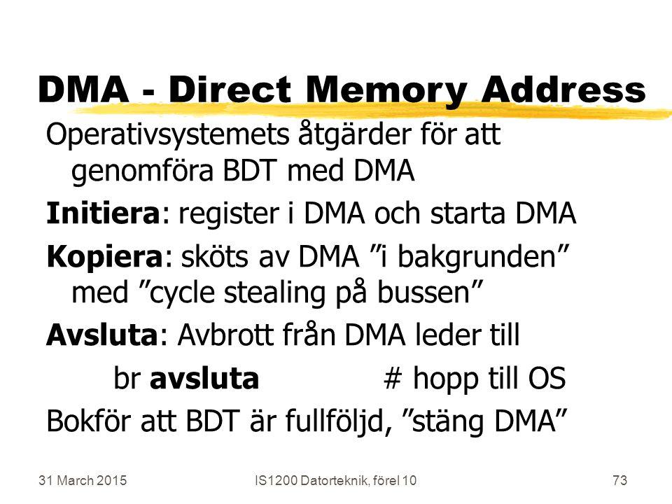 31 March 2015IS1200 Datorteknik, förel 1073 DMA - Direct Memory Address Operativsystemets åtgärder för att genomföra BDT med DMA Initiera: register i DMA och starta DMA Kopiera: sköts av DMA i bakgrunden med cycle stealing på bussen Avsluta: Avbrott från DMA leder till br avsluta# hopp till OS Bokför att BDT är fullföljd, stäng DMA