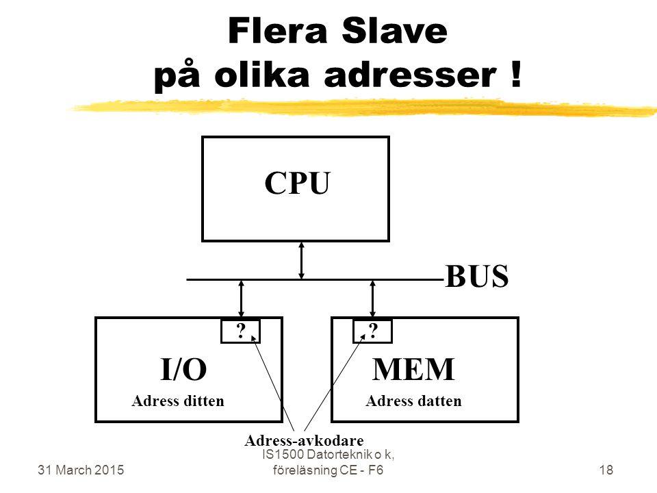 31 March 2015 IS1500 Datorteknik o k, föreläsning CE - F618 Flera Slave på olika adresser .