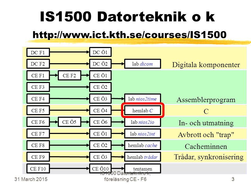 31 March 2015 IS1500 Datorteknik o k, föreläsning CE - F664 Hardware Timer  Används för exaktare tidmätning  alt1: Counter räknar upp från 0 till value  alt2: Counter räknar ner från value till 0  Counter framme kallas Time-Out  Vid Time-Out ettställs en vippa vars värde finns tillgängligt för program och elektriskt  Vippan kan nollställas (hur?)