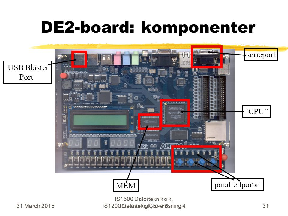 "31 March 2015IS1200 Datorteknik, föreläsning 431 serieport parallellportar MEM ""CPU"" DE2-board: komponenter USB Blaster Port 31 March 201531 IS1500 Da"