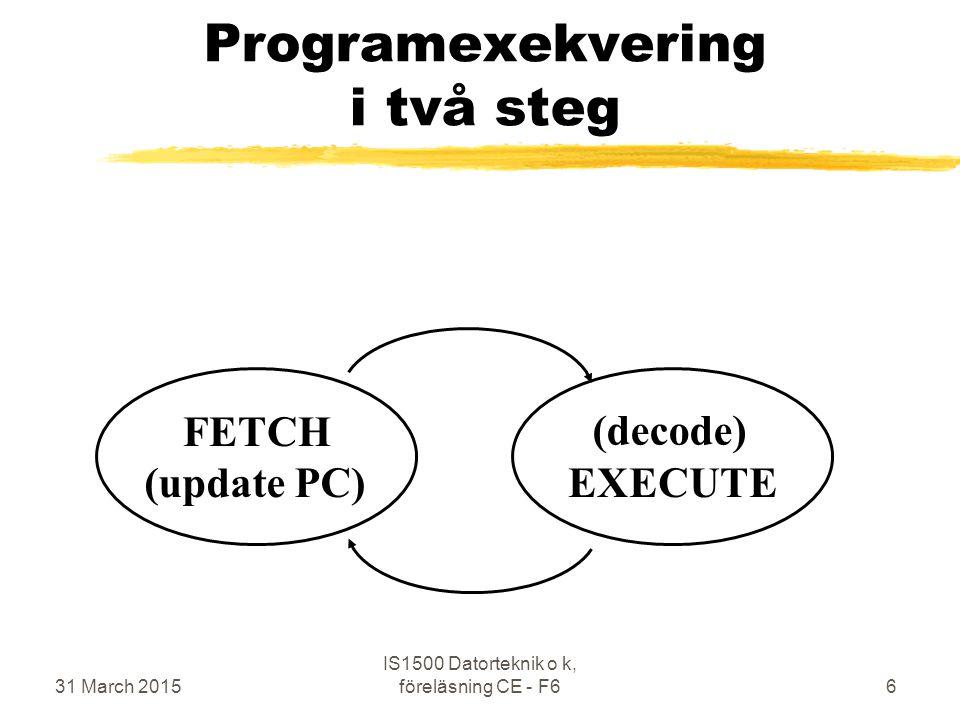 31 March 2015 IS1500 Datorteknik o k, föreläsning CE - F67 Viktiga delar i en dator CPU MEM BUS I/O program data